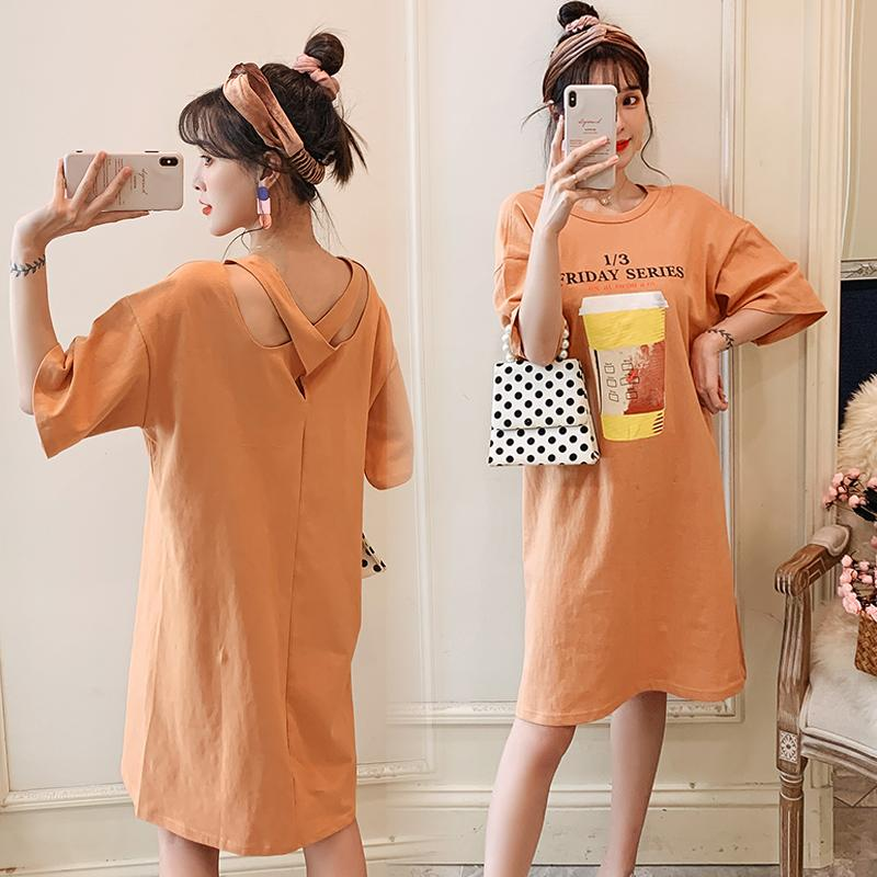 Dress Other / other XXL,XL,L,M Korean version Short sleeve Medium length summer Crew neck shape