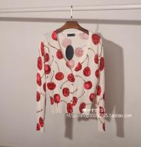 Wool knitwear Autumn 2015 Average size Red cherry blossom, 6338 flower print Long sleeves singleton  Cardigan cotton 91% (including) - 95% (excluding) Regular routine Sweet Self cultivation V-neck Plants and flowers Single breasted printing Countryside