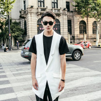 Vest / vest Fashion City Others S,M,L,XL,2XL,3XL White, black Other leisure Self cultivation Vest routine Four seasons Lapel teenagers 2019 Exquisite Korean style B253A-M37-80 Solid color Single breasted Cloth hem other No iron treatment Button decoration nothing Digging bags with lids
