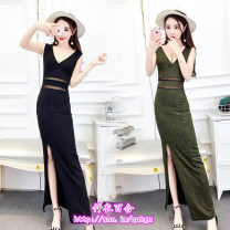 Dress Spring 2020 Silver, black, gold S,M,L longuette singleton  Sleeveless commute V-neck High waist Solid color zipper other 18-24 years old Korean version Mesh, zipper 51% (inclusive) - 70% (inclusive)