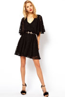Dress Summer 2016 black XS S M L XL XXL Short skirt singleton  Short sleeve street V-neck High waist Solid color Big swing Bat sleeve 25-29 years old Type X As Faye Lace AS-1636 More than 95% Lace polyester fiber Polyester 95% polyurethane elastic fiber (spandex) 5% Pure e-commerce (online only)