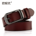 Belt / belt / chain Double skin leather Dark coffee red red coffee black female belt leisure time Single loop Youth, middle age Pin buckle soft surface