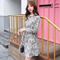 Dress Spring 2017 Light grey Khaki SMLXLXXL Mid length dress singleton  Long sleeves commute Crew neck middle-waisted Broken flowers Socket routine