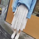 skirt Winter 2016 Average size White, black Mid length dress commute Natural waist A-line skirt Solid color 18-24 years old 30% and below other other Embroidery Korean version