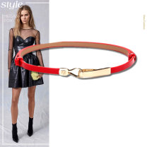 Belt / belt / chain Double skin leather female belt grace Single loop youth other Patent leather 1cm alloy pinkycolor