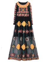 Dress Fall 2017 Real object shooting S,M,L,XL longuette singleton  Long sleeves commute Crew neck High waist Decor Socket Big swing routine Others Type X ethnic style Embroidery 51% (inclusive) - 70% (inclusive) cotton