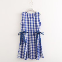 Dress Summer of 2019 blue Average size singleton  Sleeveless Sweet Crew neck middle-waisted lattice Socket Big swing Zipper, bow More than 95% cotton solar system