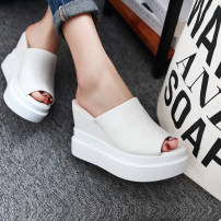 slipper three hundred and forty-three billion five hundred and thirty-six million three hundred and seventy-three thousand eight hundred and thirty-nine Aibaolijia White black Slope heel Super high heel (over 8cm) PU Summer 2017 One line polyurethane daily Korean version Adhesive shoes Solid color PU