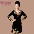 Dress Winter of 2018 violet XL,5XL,6XL Middle-skirt singleton  Long sleeves commute Crew neck middle-waisted Decor Socket Big swing routine Others 40-49 years old Type H Mermin  ethnic style Embroidery, three-dimensional decoration, nail beads MOM2031 51% (inclusive) - 70% (inclusive) other