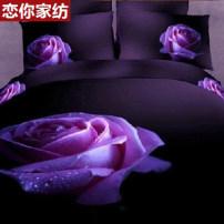 Bedding Set / four piece set / multi piece set other Love you 4 pieces Plant flowers cotton 133X76 1.5m (5 ft) bed 1.8 m (6 ft) bed 2.0 m (6.6 ft) bed other cotton Sheet style Qualified products Twill cotton 100% Reactive printing LN197