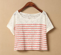 T-shirt Red pattern on white background, black pattern on white background, white pattern on blue background XS,S,M,L,XL,2XL Summer 2020 Short sleeve Crew neck easy Regular routine street cotton 71% (inclusive) - 85% (inclusive) 18-24 years old other Thin horizontal stripe First, foreign trade