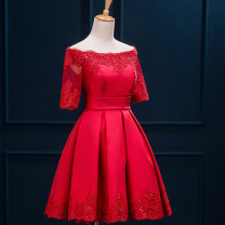 Dress / evening wear Wedding, adulthood, party, company annual meeting, performance, routine, appointment XXL,S,M,L,XL White, red, Burgundy, champagne, green, meat pink Korean version Short skirt High waist Summer 2016 Fluffy skirt One shoulder Bandage Embroidered lace 18-25 years old DH1527 routine