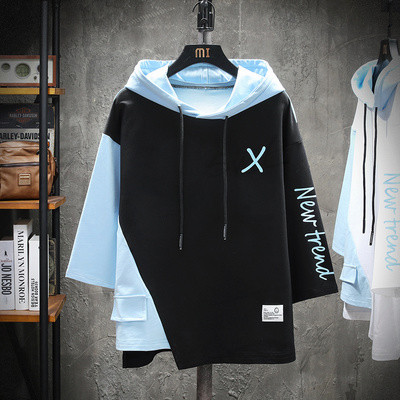 T-shirt Fashion City White with blue, black with blue thin M,L,XL,2XL,3XL,4XL,5XL Others Short sleeve Hood easy daily summer T68800 Cotton 95% other 5% youth Off shoulder sleeve Japanese Retro other other Color contrast cotton other No iron treatment Fashion brand More than 95%