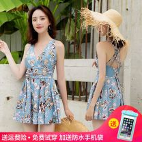 one piece  Skirt one piece Steel strap breast pad nylon female Sleeveless Casual swimsuit Solid color backless