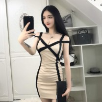 Dress Summer of 2019 Apricot S,M,L Short skirt singleton  Sleeveless commute V-neck High waist Socket One pace skirt other camisole Type H Other / other Korean version Splicing 51% (inclusive) - 70% (inclusive) other nylon