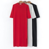 Dress Spring 2021 Black, light gray, big red M (recommended 80-100 kg), l (recommended 100-115 kg), XL (recommended 115-130 kg) longuette singleton  elbow sleeve commute Crew neck middle-waisted Solid color Socket One pace skirt routine Others Type H Amudy Korean version knitting