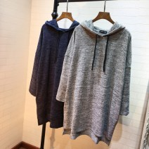 T-shirt Grey, Navy Average size Fall 2017 Long sleeves Hood Straight cylinder Regular routine commute cotton 96% and above Korean version V hooded medium length T-shirt