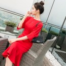 Dress Spring of 2018 gules S,M,L,XL Mid length dress singleton  elbow sleeve commute Crew neck High waist Solid color zipper Ruffle Skirt Others 18-24 years old Korean version Ruffle, stitching, zipper