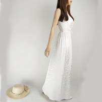 Dress Summer 2017 white S,M,L longuette singleton  Sleeveless commute V-neck middle-waisted Dot Socket Big swing other camisole 30-34 years old Type A Other / other Simplicity Bright silk, open back, stitching DD17003 More than 95% Silk and satin silk