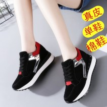 Low top shoes 34,35,36,37,38,39,40 Other / other Round head Cattle suede (frosted) Internal elevation High heel (5-8cm) Deep mouth Artificial short plush Winter 2017 Frenulum Korean version Adhesive shoes Youth (18-40 years old) Solid color rubber Shoe of sponge cake Artificial short plush daily