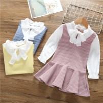 Dress Pink, blue, yellow female Yu Shengli 90y(80-90cm),100y(90-100cm),110y(100-110cm),120y(110-120cm),130y(120-130cm) Cotton 80% other 20% No season leisure time Long sleeves lattice cotton Irregular Dress other