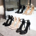 Sandals Superfine fiber Rhyme and poise Barefoot Fine heel Super high heel (over 8cm) Spring 2020 Flat buckle Europe and America Solid color Adhesive shoes Youth (18-40 years old) TPR (tendon) banquet Bag heel Low Gang Lateral space Sheepskin Sheepskin Flat buckle Shaving