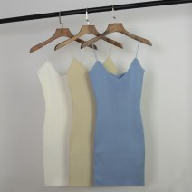 Vest sling Spring 2021 Light blue, white, black, apricot Average size singleton  Medium length Self cultivation Versatile camisole Solid color 18-24 years old 51% (inclusive) - 70% (inclusive) other 329-1877 Splice, threaded, open back