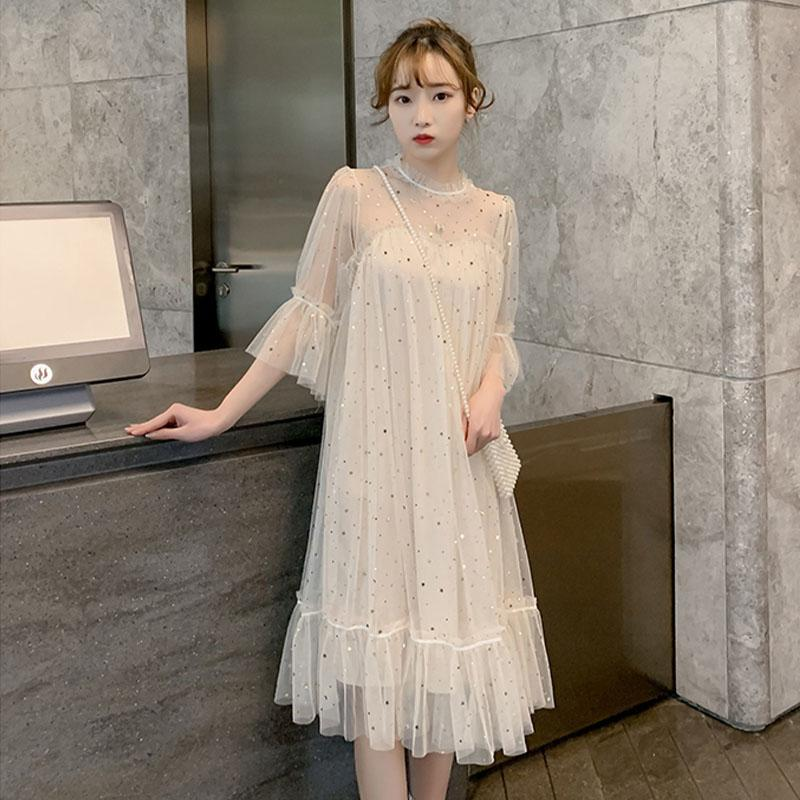 Dress Other / other Korean version elbow sleeve Medium length summer stand collar Solid color Netting