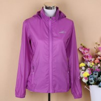 Middle aged and old women's wear Summer 2021 Light purple, pink purple, plum red, light pink, light blue, color blue L,XL,XXL,XXXL,4XL,5XL,6XL motion Jacket / jacket easy singleton  lattice 40-49 years old Cardigan ultrathin Hood Medium length (length 50-70cm) routine FXL1688 Snow Wolf pocket zipper