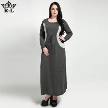 Dress Fall 2017 grey 2XL,3XL,4XL,5XL,6XL,7XL longuette singleton  Long sleeves street Crew neck middle-waisted other Socket other routine 25-29 years old Splicing polyester fiber Europe and America