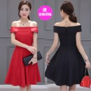 Dress Summer 2021 Red, black, black, high quality without sleeves, red, high quality without sleeves, long sleeves, contact customer service XS,S,M,L,XL,2XL Middle-skirt singleton  Sleeveless street One word collar middle-waisted Solid color zipper Big swing other Others Type A Tianxiaomao