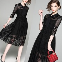 Dress Summer of 2018 Black Lace Skirt S,M,L,XL,2XL,3XL Mid length dress singleton  three quarter sleeve commute other middle-waisted zipper A-line skirt other Others Type A Korean version 81% (inclusive) - 90% (inclusive) other
