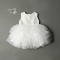 Dress white female Other / other 80cm,90cm,100cm,110cm,120cm,130cm,140cm,150cm Polyester 100% summer princess Skirt / vest Solid color cotton Cake skirt Class B