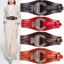 Belt / belt / chain top layer leather Red, black, brown, coffee female Waistband grace Single loop Youth, youth, middle age a hook Round buckle soft surface 9.5cm alloy Knitting, elastic Kabbalala