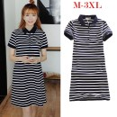 Dress Summer 2020 Blue and white stripes singleton  Short sleeve Loose waist stripe Socket routine Type A cotton