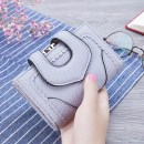 wallet Short Wallet PU Gindol Rubber pink grey black brand new Japan and South Korea female Buckles Solid color 70% off Horizontal style youth Large banknote holder photo position dark grid card position Clemence  Textile JDE-256 soft surface Autumn and winter 2017 Pure e-commerce (online only)