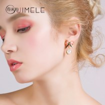 Earrings Alloy / silver / gold 51-100 yuan Jimele / qimili Tms135 S925 silver needle bow brand new female Japan and South Korea goods in stock Fresh out of the oven other other TMS135 Summer of 2018 no Exclusive to tmall (only sold in tmall)