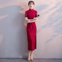 cheongsam Summer of 2018 XXLSMLXL Short sleeve long cheongsam Retro High slit wedding Oblique lapel Solid color 18-25 years old Piping Rose yarn Other 100% Pure e-commerce (online only)