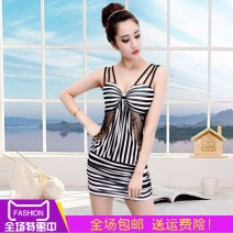 Dress Spring of 2018 Black and red stripes, black and white stripes S,M,L,XL,XXL,XXXL Short skirt singleton  Sleeveless commute V-neck low-waisted stripe Socket One pace skirt camisole 18-24 years old Type H It's already summer Korean version Lace, gauze, open back, bow Lace