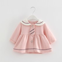 Dress Pink, light blue female idea fish Cotton 60% other 40% spring and autumn college Long sleeves Solid color cotton A-line skirt Class A 3 months, 12 months, 6 months, 9 months, 18 months, 2 years old, 3 years old