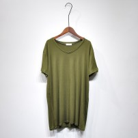 T-shirt White, black, army green Average size Summer 2017 Short sleeve V-neck easy Medium length routine street cotton 96% and above Solid color Other / other 2017.5.25 Europe and America
