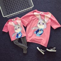 Parent child fashion Pink, dark blue Women's dress Female, male Other / other Tong No.5 (80-90), Tong No.7 (100-110), Baobao No.9 120-130, Tong No.11 (130-140), Tong No.13 (140-150), mom loose F, this link is only short sleeve smoothly No season leisure time routine Solid color Finished T-shirt