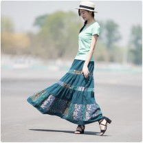 skirt Summer of 2018 80cm,90cm blackish green longuette commute Natural waist A-line skirt Decor Type A 31% (inclusive) - 50% (inclusive) other Chiwa hemp ethnic style