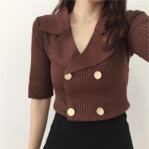 Wool knitwear Spring of 2018 M, L elbow sleeve singleton  Cardigan other 81% (inclusive) - 90% (inclusive) Regular routine commute Self cultivation tailored collar routine Solid color double-breasted Korean version Other / other Button