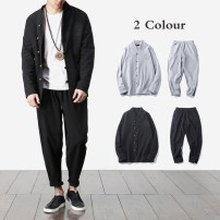 Other suits Long sleeves spring Other / other M,L,XL,2XL,3XL,4XL,5XL Black, gray trousers shirt youth 2018 Cotton and hemp