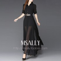 Dress Summer of 2018 White, black S,M,L,XL,2XL longuette singleton  three quarter sleeve Sweet stand collar High waist Solid color Socket Big swing routine Breast wrapping Type A Ruffles, three dimensional decoration 71% (inclusive) - 80% (inclusive) Chiffon cotton Bohemia