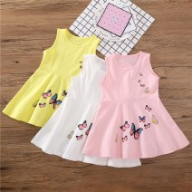 Dress female Yu Shengli Cotton 90% other 10% summer leisure time Long sleeves Cartoon animation cotton butterfly Class A 3 months, 12 months, 6 months, 9 months, 18 months, 2 years old, 3 years old, 4 years old, 5 years old, 6 years old