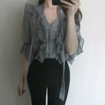 shirt Wild goose grey S,M,L Spring of 2018 other 91% (inclusive) - 95% (inclusive) three quarter sleeve commute Regular V-neck Lotus leaf sleeve Solid color Korean version