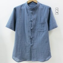 shirt other Ulna [single piece manual cutting], [please keep height and weight], s [bust 100], m [bust 106], l [bust 112], XL [bust 118], [extra large customization] White, black, sky blue, grey blue, hemp Thin money stand collar Short sleeve easy Other leisure summer Y2312 Large size Chinese style