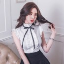 shirt white S,M,L,XL Summer 2020 other 31% (inclusive) - 50% (inclusive) Sleeveless commute Regular stand collar Single row multi button Lotus leaf sleeve Solid color 18-24 years old Korean version Bow, ruffle, stitching, buttons